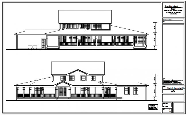 Side Rear View Design Drawing Of Bungalow Design