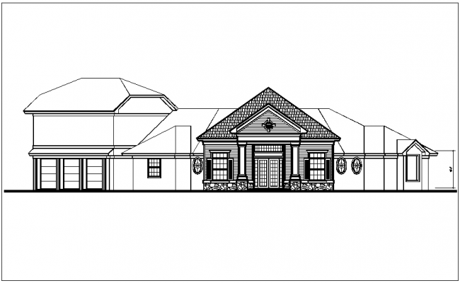 Front view of bungalows dwg file