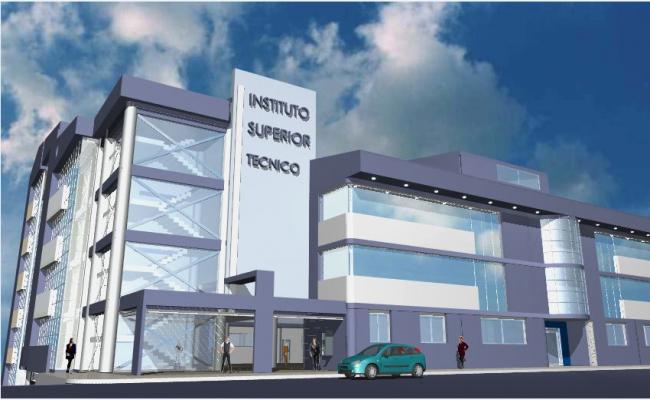 Frontal elevation 3D commercial building detail dwg file