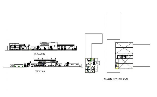 Fruit processing plant elevation, section and floor plan drawing details dwg file
