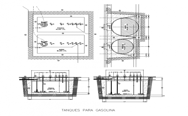 Fuel tank detail elevation and plan 2d view layout file