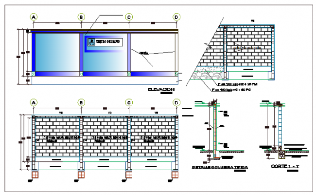 Full detailed project of perimeter fence design of garden dwg file