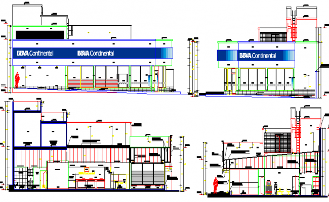 Full elevation and section details of city bank design dwg file