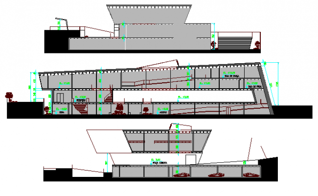 Full elevation and sectional view details of corporate office building dwg file