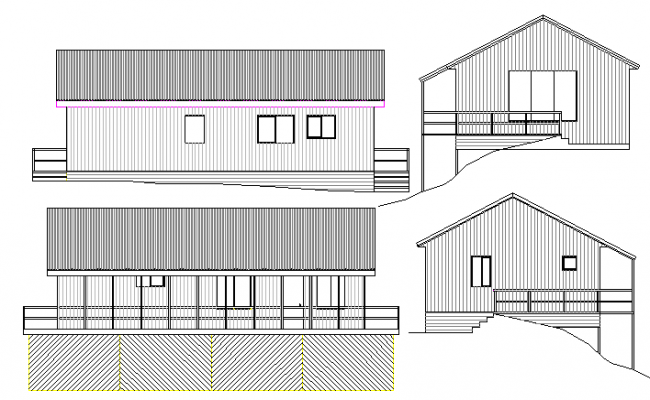 Full elevation details of corporate office dwg file