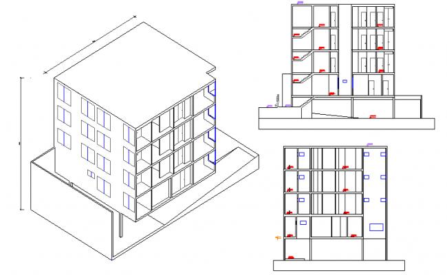 Full elevation details of multi-flooring bungalow dwg file