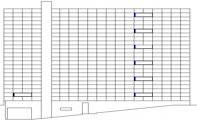 Full elevation view of government council building details dwg file