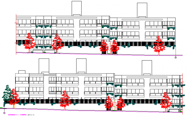 Full front & back elevation view, residential apartment building dwg file