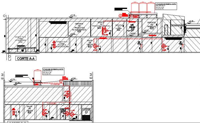 Full sectional view of industrial plant building design dwg file