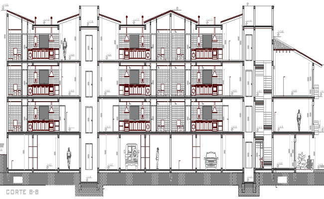 Full sectional view of multi-flooring residential building dwg file