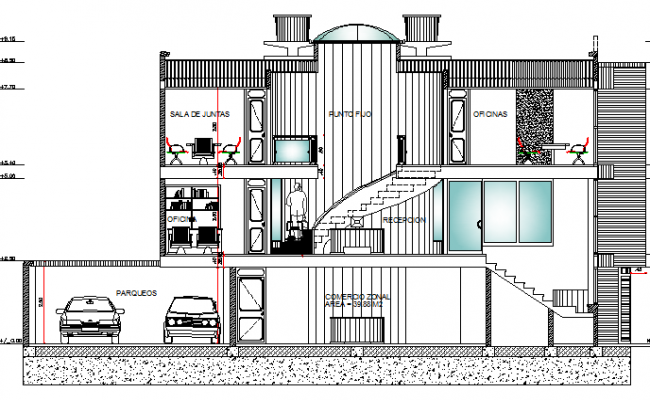 Full sectional view of office and shop building details dwg file