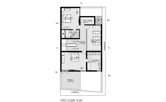 Fully Furnished First Floor House Plan AutoCAD File