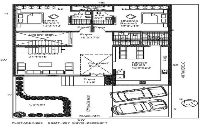 Fully Furnished Ground Floor Bungalow Plan AutoCAD Drawing