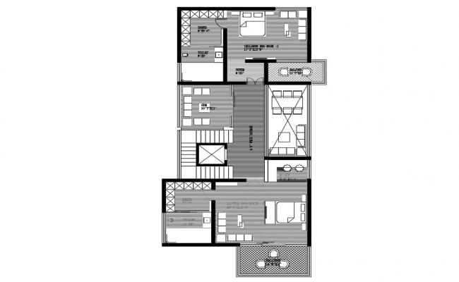 Fully Furnished Home First Floor Plan DWG Drawing