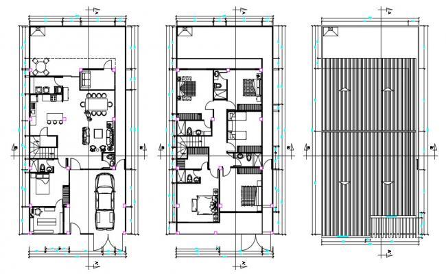 Fully Furnished Modern Bungalow Design AutoCAD File
