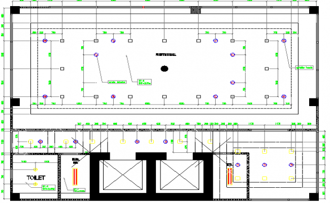 Function hall architecture layout plan details dwg file
