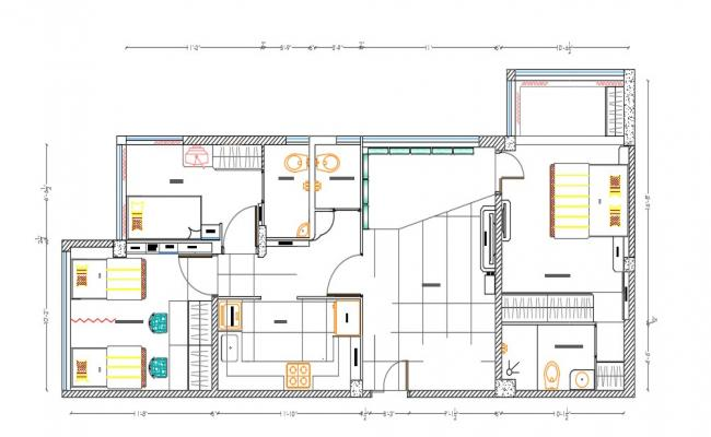 Furnished 2 BHK House Architecture plan AutoCAD Drawing