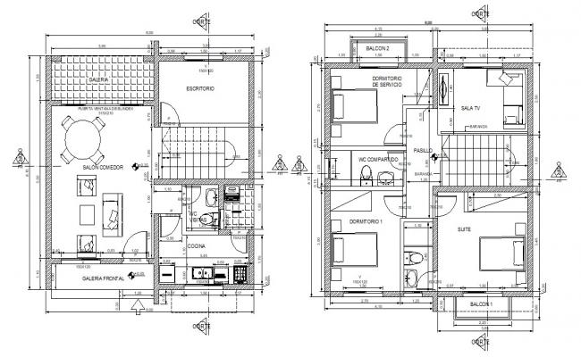 Furnished 3 BHK Residential Bungalow AutoCAD drawing