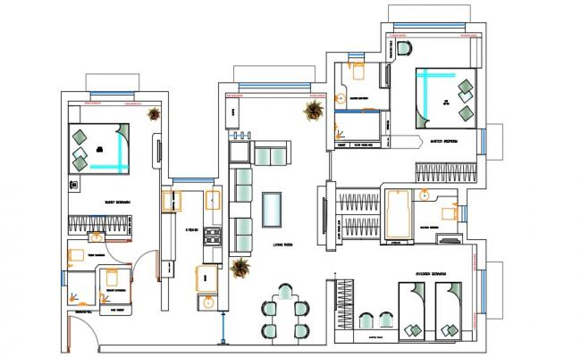 Furnished 3 BHK Residential Bungalow CAD Drawing