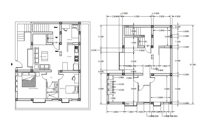 Furnished 3d BHK House Working Plan AutoCAD drawing
