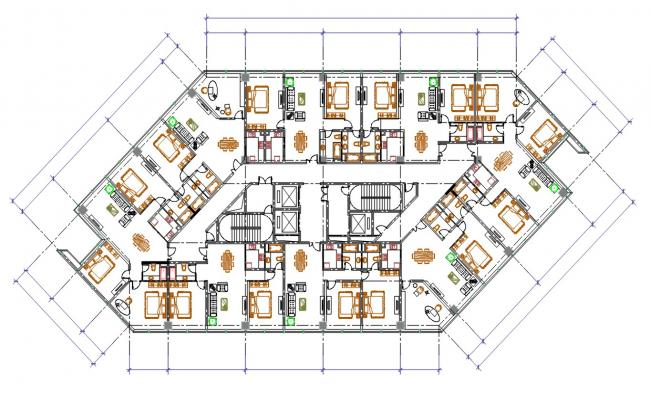 Furnished Apartment Layout Plan AutoCAD File