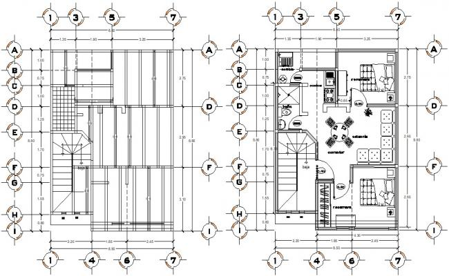 Furnished House Beam plan Architecture CAD drawing