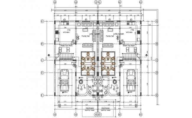 Furnished House Ground Floor Plan AutoCAD Drawing