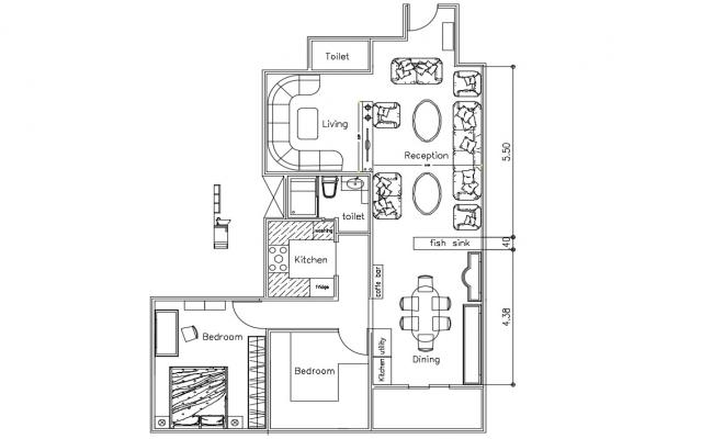 Furnished House Layout Plan DWG File