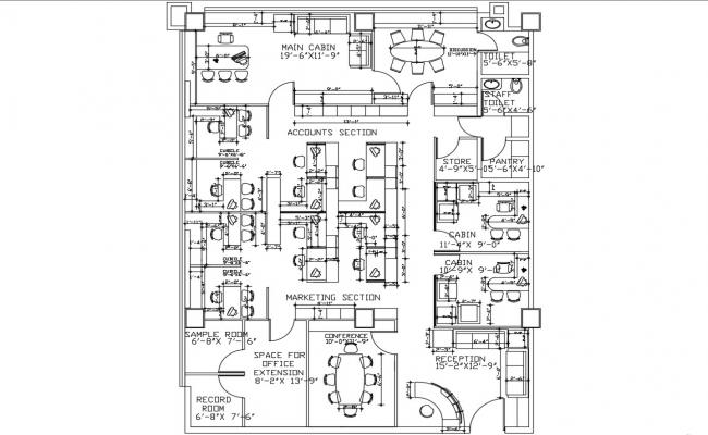 Furnished Office Floor Plan DWG File
