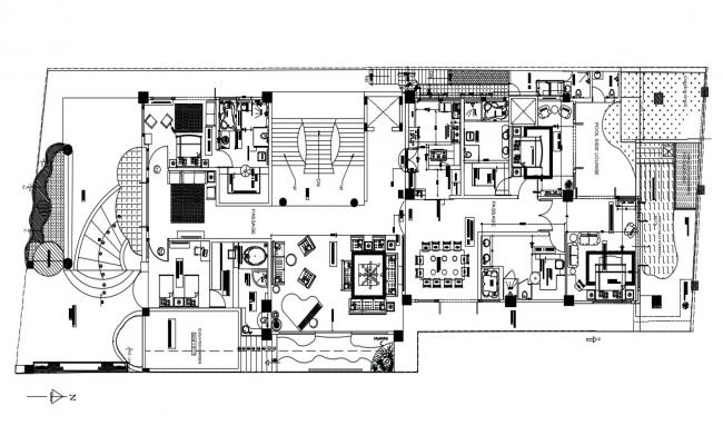 Furnished Residential Bungalow design Architecture Plan Download