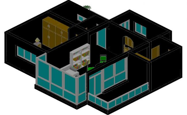 Furnished apartment in 3 d plan detail dwg file