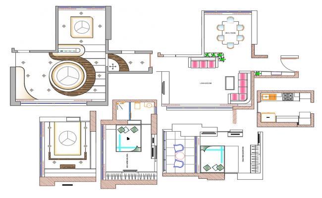 Furnished room With False Ceiling Plan Download CAD File