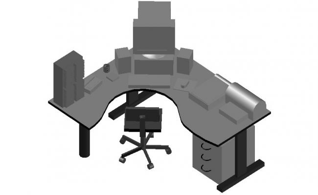 Furniture Blocks design of Office Table 3d model