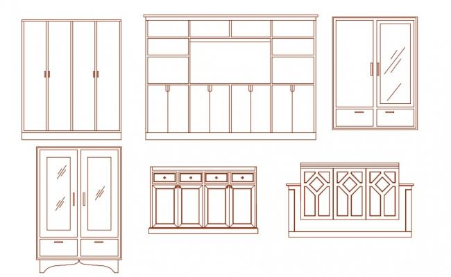 Furniture Cabinet Elevation Design AutoCAD Drawing Download