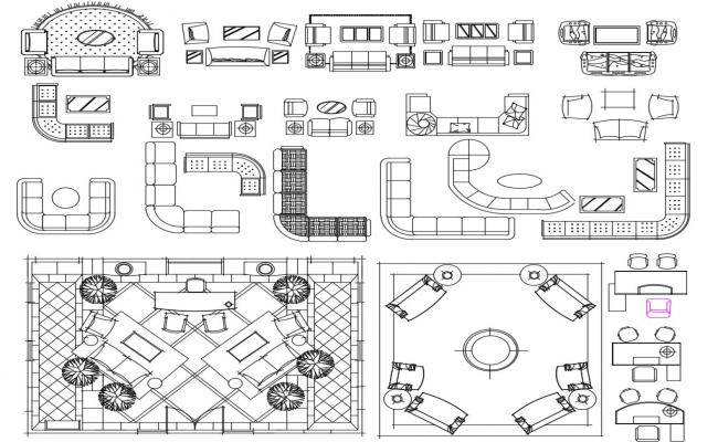 Furniture Design Sofa Set CAD File Download