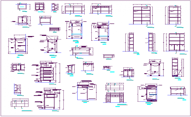 Furniture Design of different type with dimensions sectional view