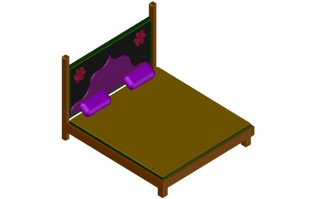 Furniture Double Bed 3d model CAD Drawing