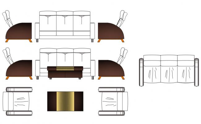 Furniture Sofa Set CAD Blocks