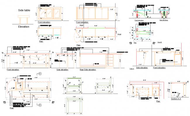 Furniture Table Design dwg file