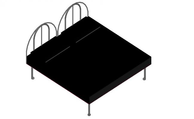 Furniture blocks of Stainless Steel Bed 3d CAD drawing