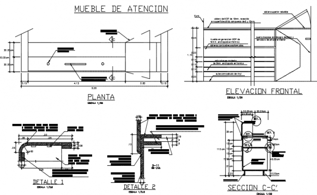 Furniture care plan and elevation detail dwg file