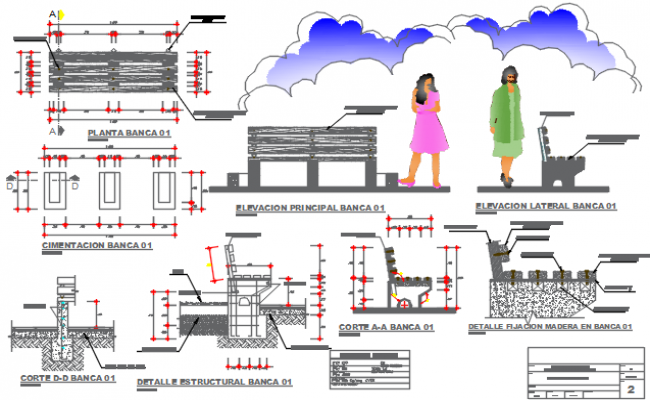 Furniture detail and foundation working plan detail dwg file