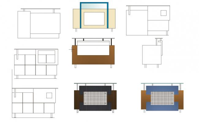 Furniture detail of reception area in dwg file