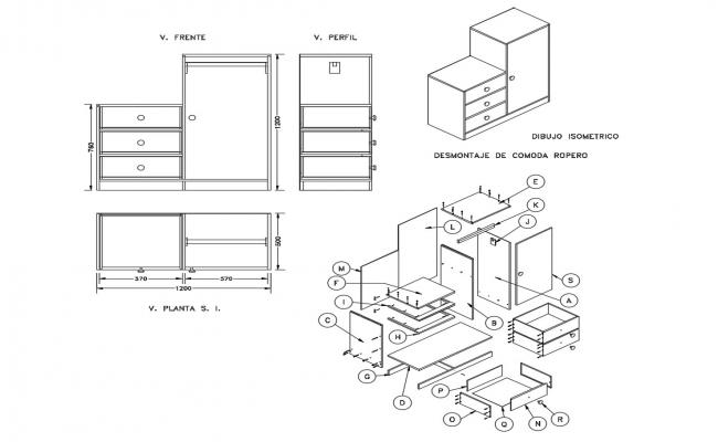 Furniture detail of table in autocad