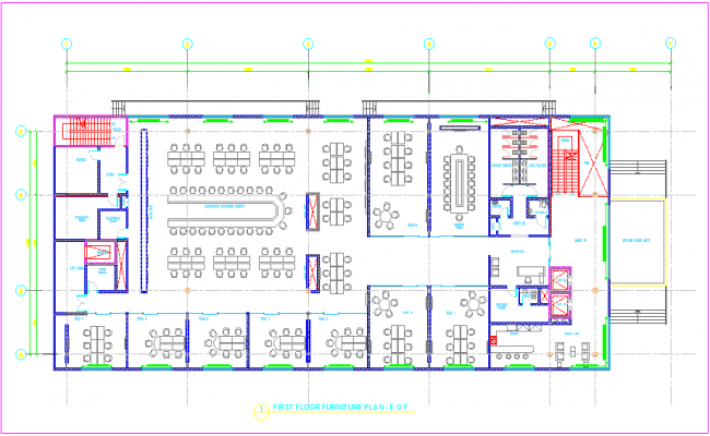 Furniture detail plan view of first floor of building dwg file