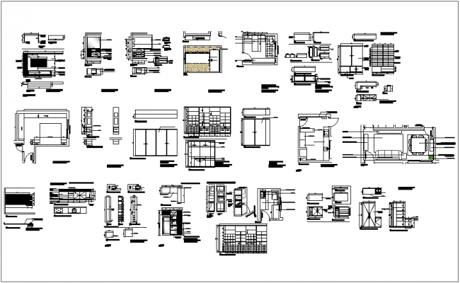 Furniture detail view for apartment dwg file