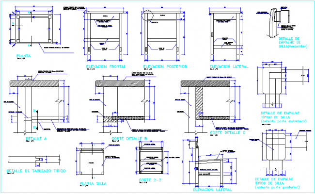 Furniture detail view for education center, section & joint view dwg file