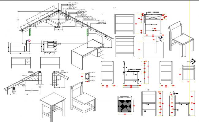 Furniture elevation detail and roof elevation detail dwg file