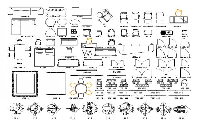 Furniture equipment plan detail dwg file.