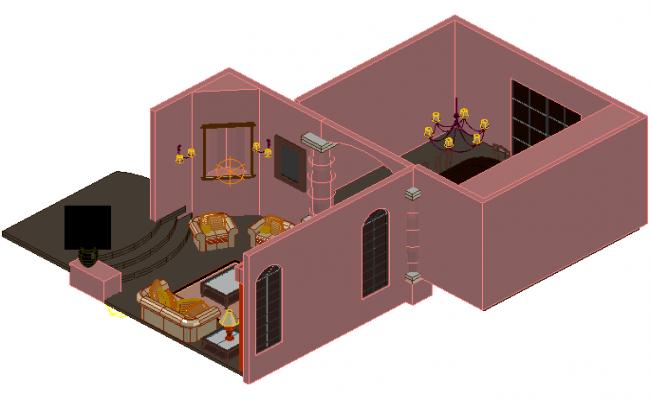 Furniture housing 3 d plan detail dwg file